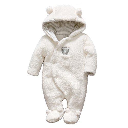 Bébé Combinaison De Neige Fleece Manteau à Capuche Chaud Barboteuse Hiver Tenues, Blanc 0-3 Mois