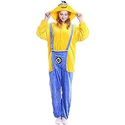 """Dolamen Adulto Unisexo Onesies Kigurumi Pijamas, Mujer Hombres Traje Disfraz Animal Pyjamas, Ropa de Dormir Halloween Cosplay Navidad Animales de Vestuario (X-Large (68.8 """"-72.8""""), Minions)"""