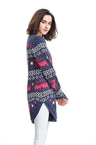 Shineflow Renna da donna con fiocco di neve e maglione maglione di Natale blu