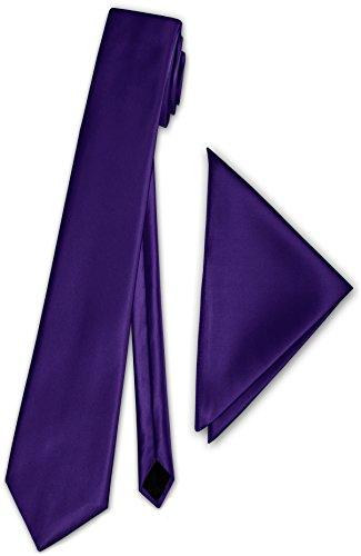 Herren Satinkrawatte mit Einstecktuch Anzug Krawatte Edel Satin 30 Farben NEU (Lila)
