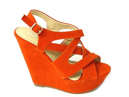 SKO'S , Talons compensés femme Orange (RF1899-6)