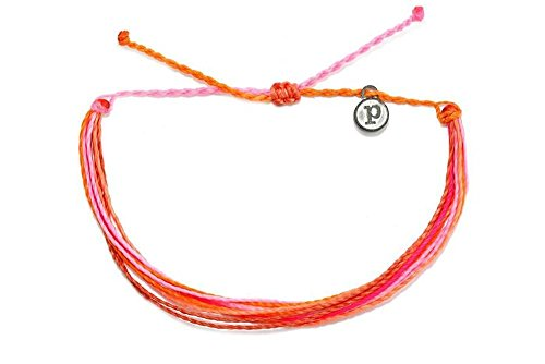 Pura Vida Pop of Pink Bracelet - Iron-Coated Copper Charm, Adjustable Band - 100% Waterproof (Adjustable Pop)
