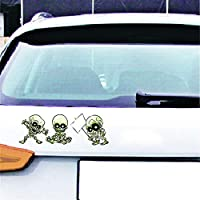 HuntGold 1 Sheet Car Decals Punk Laptop Stickers Skeleton DIY For Cars Trucks, Bumpers, Laptops Decorative