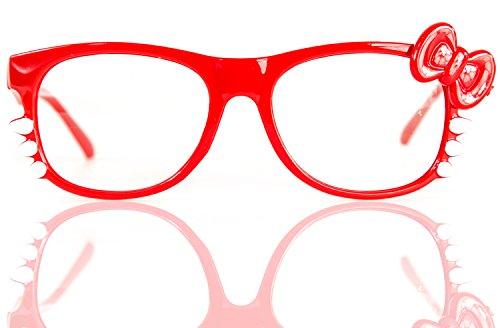 Nick and Ben NERD-Brille Kitty ohne Seh-Stärke Damen Fenster-Glas Fasching Karneval Rot Panto-Brille Wayferer Horn-Brille Party-Brille