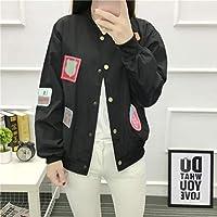 Oyamihin Mode Kurzmantel Frauen Sweatshirts Langarm Knopfverschluss Lose Casual Allgleiches Jacke Mantel für Frühling Herbst - schwarz S