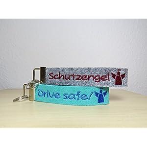 Schlüsselanhänger mit Namen oder Spruch - individuell bestickt - Filzanhänger- Geschenk - Glücksbringer - Schutzengel