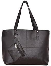 DesiSatchelsWomen's Handbags With One Extra Pocket - Girls & Ladies Handbags For Daily Office Use (Black)