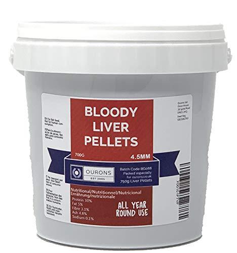 OURONS Premium 4,5 mm Blutwurm- und Leberpellets für das ganze Jahr über Angeln, 700 g Dose