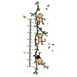 New Cute Monkey Vine Wall Decal Height Chart Measure PVC Sticker Kid Room Decor