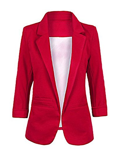 LuShmily Women's Casual 3/4 Sleeve Open Front Candy Color Boyfriend Blazer Wine XXL