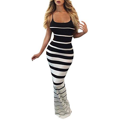 Kleid Damen,Binggong Frauen Reizvolles ärmelloses Kleid Trägerloses Populäre Hochwertiges Partei Kleid Langes Kleid Schlank Sommerkleider Elegant Hosenträger kleid (XL, Schwarz)