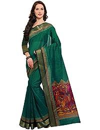 Rajnandini Women's Green Tussar Silk Madhubani Printed Saree