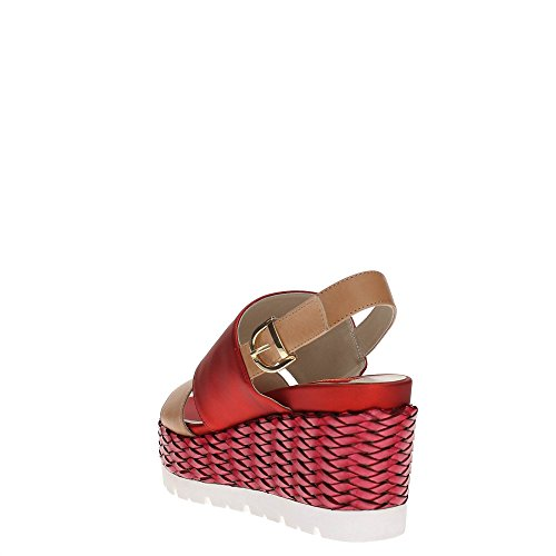 Luciano Barachini 8011 Chaussures Compensées Femme CAMEL/ROSSO