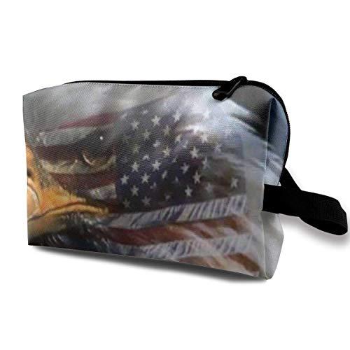 Reisen Make-up Kosmetiktasche Pinsel Tasche American Eagle Flag Reißverschluss Stift Veranstalter Tragetasche Make-up Pinsel Tasche -