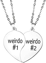 Baroco Best Friend Necklaces Friendship Split Heart Necklace Weirdo 1 Weirdo 2 Pendant Set