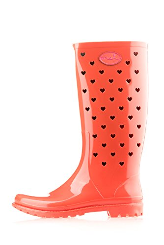 MEI LA Damens Original Perforierte Kleine Herze Gummistiefel Orange