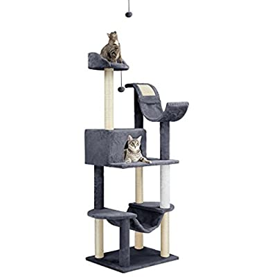 "Finether 60.6"" High 5-Tier Cat Tree Tower Furniture Kitten Playhouse with Sisal Covered Scratching Posts, Hammock, Perches. Platform and Dangling Ball"