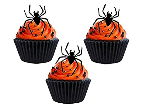 24 x Halloween Party Black Silhouette (Spider) STAND UP STANDUPS Fairy Muffin Cup Cake Toppers Decoration Edible Rice Wafer