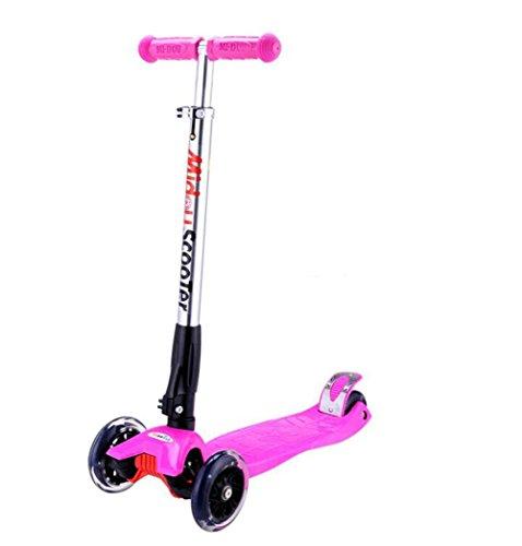 HJXJXJX Mehrfarbige optionale anhebende Kinder, die Vierradroller falten , pink