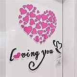 YWLINK D SensacióN EstéReo Love Heart DIY Vinilo Removible CalcomaníA Arte Mural Pegatinas De Pared DecoracióN De La HabitacióN En Casa TV Pared Fondo Pasillo Sala De Estar Dormitorio