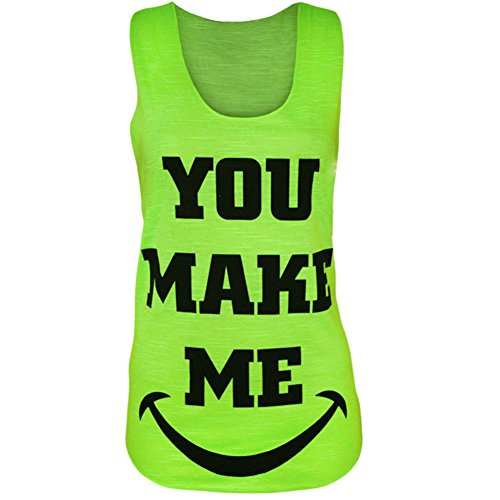 Femme Fille Make You Smile Me Débardeur T-Shirt Vert - Vert fluorescent