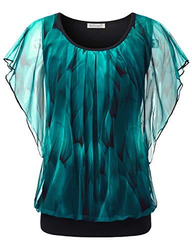 BaiShengGT Batwing Damen, Damen Falten Kurzarm Tunika Batwing Rundkragen Bluse Pfau Blau X-Large (Frühlings-frauen-tops)