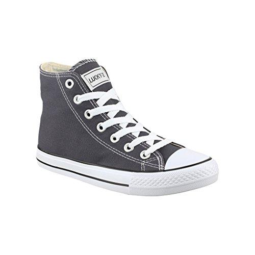Elara Boots Unisex Turnschuh Sneaker Damen Herren Slipper Halbschuhe sportlich Chunkyrayan BenkeyB BBN-CA014/CB019 Dk.Grey-39