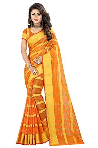 J B Fashion Women's Cotton Jaqard Orange color Saree for women With...
