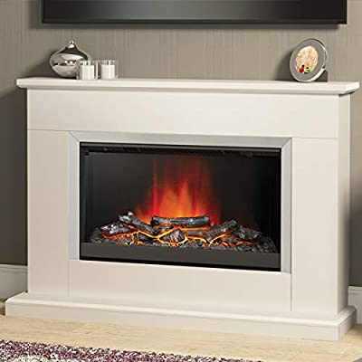 Be Modern Hansford Ivory Effect Surround Brushed Steel Electric Fire Logs Fireplace Suite 2kW