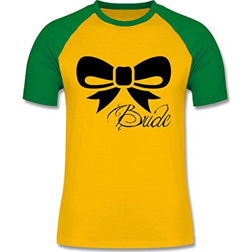 Hochzeit - Schleife Bride - Braut - zweifarbiges Baseballshirt für Männer Gelb/Grün