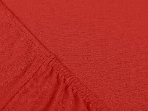npluseins klassisches Jersey Spannbetttuch - erhältlich in 34 modernen Farben und 6 verschiedenen Größen - 100% Baumwolle, 90-100 x 200 cm, rot - 4