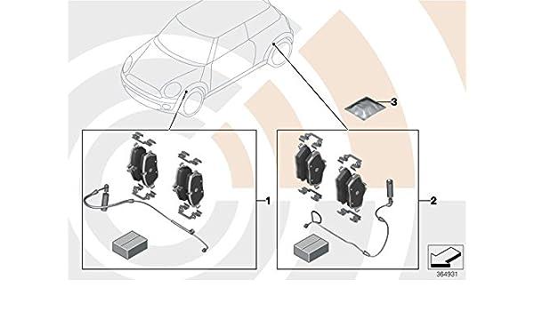 mini genuine front brake pads set + sensor for r55 r56 r57 r58 r59  34112289145: amazon co uk: car & motorbike