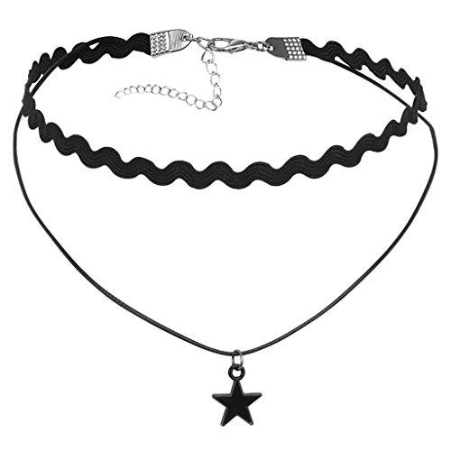 Epinki Damen Choker, Doppel Halskette Samtband Wellenlinien Kette Stern Form Anhänger Tattoo Samtkropfband Gothic Halsband 31.5+7.3CM Silber Schwarz