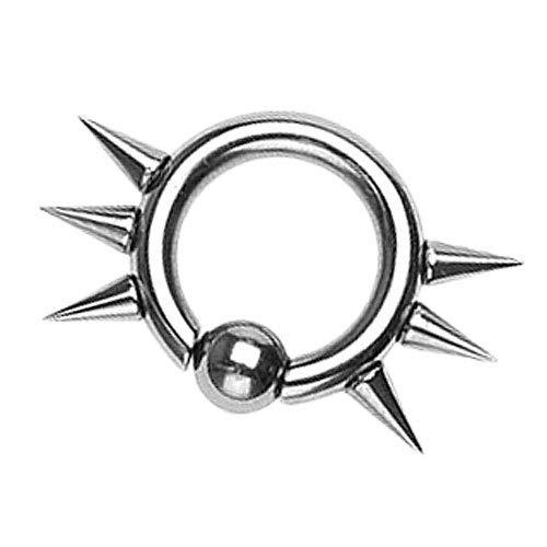 Piersando BCR Piercing Klemmring Ring Chirurgenstahl mit Stacheln Spikes Klemm Kugel Septum Nasen Brust Intimpiercing Helix Tragus 4mm x 14mm x 6mm