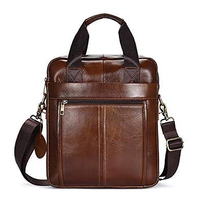 Sac Bandoulière Homme Sac rétro en cuir Sac vintage cartable en cuir pour hommes slim en cuir véritable sac pliage épaule sac de coursier