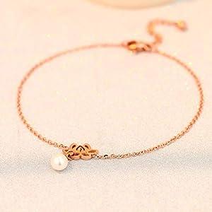 CXQ Mode Temperament Perle Lotus Rose Gold Füße Damen Kette Fuß Ring Schmuck Fuß Kette Schmuck Geschenk