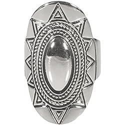 Anillo Fantasía ajustable de metal plateado–Large–estilo Navajo indio étnico