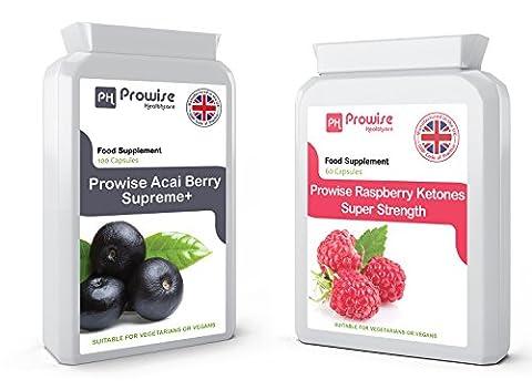 Raspberry Ketone & COMBO ACAI BERRY | Extreme Force 600mg et 1000mg KETONES ACAI BERRY | Haute Qualité Perte de poids VÉGÉTARIEN Minceur comprimés Combo (120 + 60)