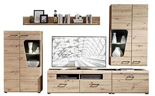 Avanti trendstore - karina - parete da soggiorno con illuminazione led compresa, in legno laminato di colore quercia artigianale. dimensioni lap 320x205x47 cm