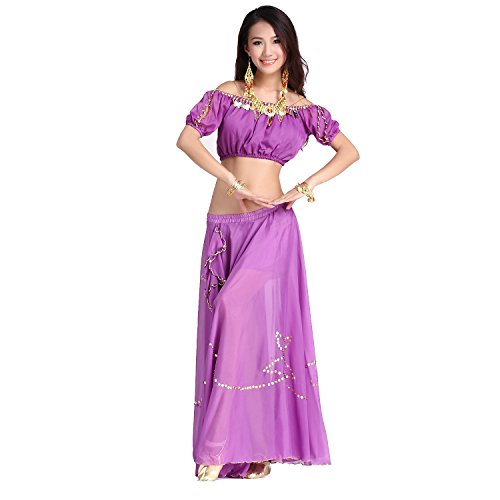 Danza del ventre Costume Set Tops With Monete& Shiny Edge Side Slit Gonna purple