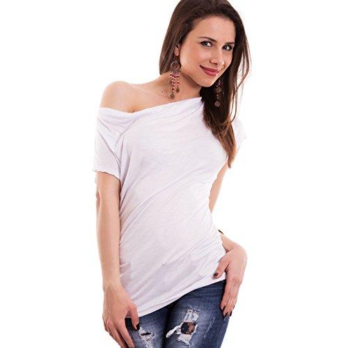 Toocool - Maglia donna maglietta maniche corte arricciatura asimmetrica nuova AS-26181 Bianco