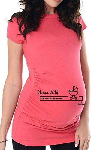bellytime Rosa Mama 2018, 36, Umstands T-Shirt/Schwangerschafts T-Shirt, Bedrucktes Shirt für Die Werdende Mutter, Tolles Geschenk, Witzig, liebevoll (Frauen T-shirt Baby)