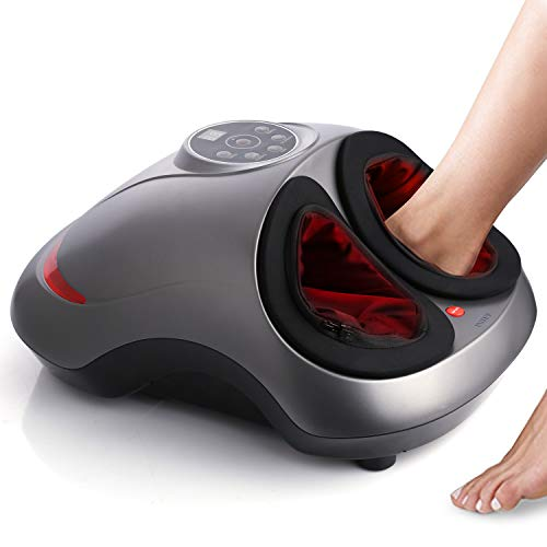 INTEY Fußmassagegerät Shiatsu elektrisches Fussmassagegerät mit Wärmefunktion, Kneten, Roller und Luftkompression, 5 Intensitätsstufen, 2 Modi, Timer, Entspannung für Zuhause/Büro