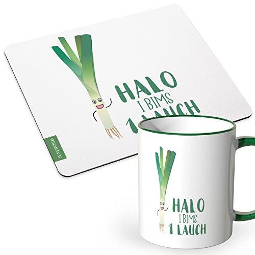 Preisvergleich Produktbild JUNIWORDS Tasse + Mousepad im Set - ideal als Geschenk - Halo i bims 1 Lauch