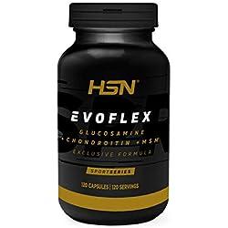 Evoflex de HSN Sports   Glucosamina + Condroitina + MSM   Suplemento para las Articulaciones, Antiinflamatorio Natural, Sin Pescado, Sin Gluten, Sin Lactosa, 120 cápsulas