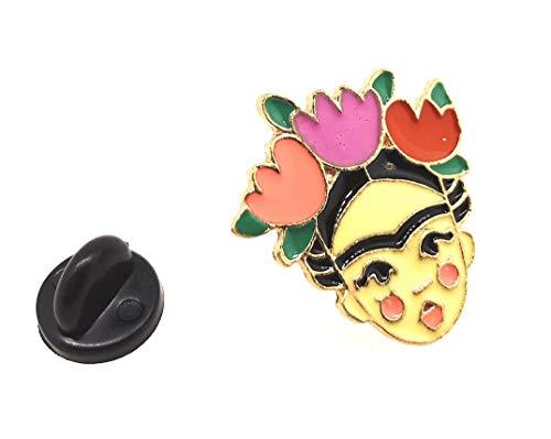 Pin de Solapa Frida Kahlo 3 Flores 25x18mm