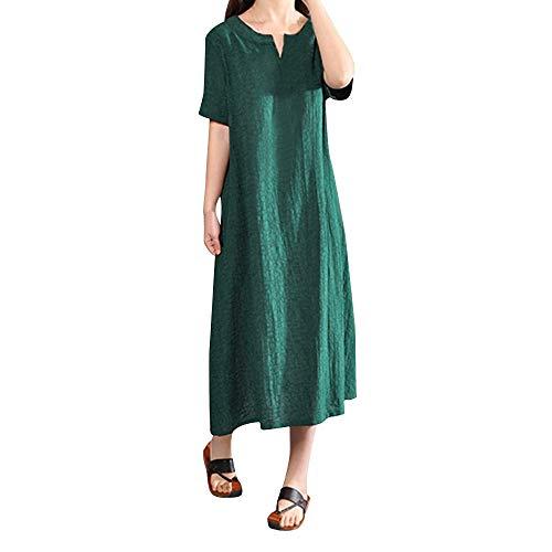 iYmitz O-Neck Kleider Damen Freizeit Strandkleider Lose Sommerkleider Einfarbig Tunika Leinen Shirtkleid Midikleider(X2-Grau,EU-44/CN-3XL) -