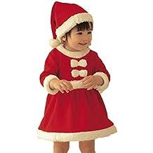 EDOTON Abito Natale per Bambine Natale Rosso Manica Lunga Costume Babbo  Natale Vestito con Cappello 2pcs 037306c2ef7