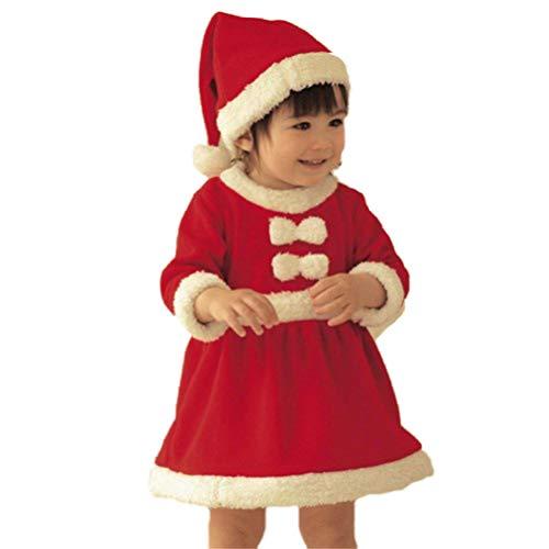 EDOTON Abito Natale per Bambine Natale Rosso Manica Lunga Costume Babbo Natale Vestito con Cappello 2pcs Set Bambine Kit di Travestimento (6-9 Mesi)