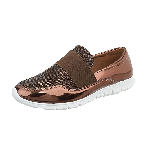 Ital-Design Scarpe da Donna Sneaker Piatto Sneakers Low Bronze J12G